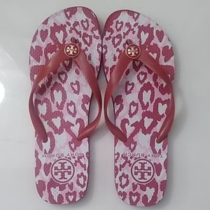 Tory Burch red,pink and white flip flops sz Large